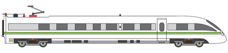 wagon: Detailed linear high-speed train on a white background