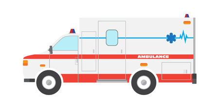 emergency services occupation: Vector illustration flat ambulance car emergency auto