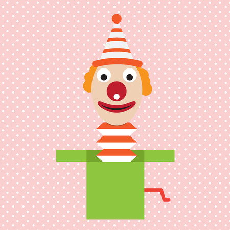 idiot box: cartoon clown in box jester vector april flat illustration Illustration