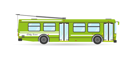 trolleybus: Vector flat city transit eco trolleybus public transport vehicle