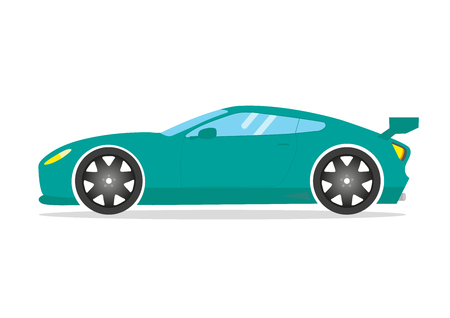 spoiler: Race sports car. Supercar tuning coup auto .Flat style vector illustration isolated transportation vehicle
