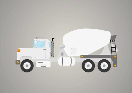 ready: concrete mixer truck flat car industry heavy vehicle isolated vector illustration Illustration
