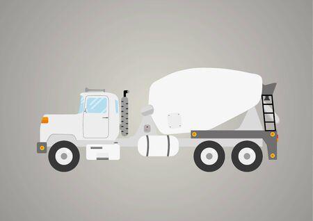 concrete mixer truck: concrete mixer truck flat car industry heavy vehicle isolated vector illustration Illustration