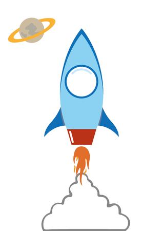 flat rocket in space with smoke cloud vector cartoon illustation