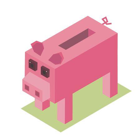 pixelate: 3d isometric vector pixelate cartoon pig farm animal illustration piggy moneybox Illustration
