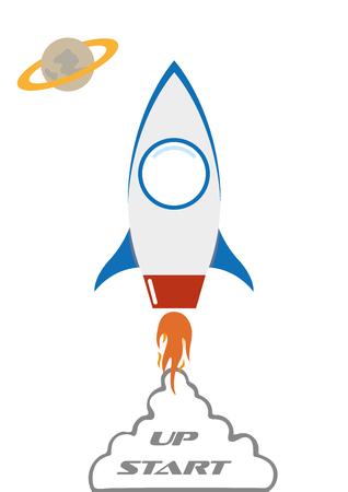 flat in space rocket start-up idea vector illustration