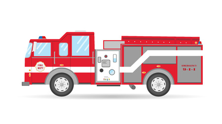 squad: Cartoon American Firetruck flat car vector illustration emergency vehicle