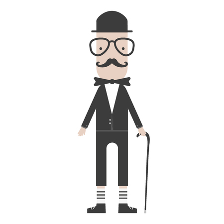 mayor: flat hipster cartoon character gentleman with stick vector illustration