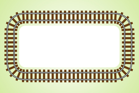 railroad track: Top wiev locomotive railroad track frame rail transport background border with place for text banner illustration