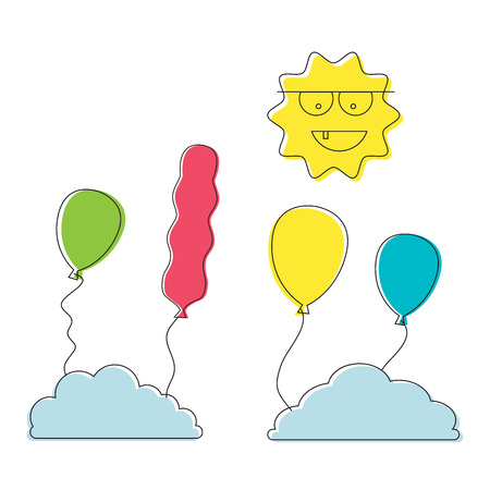 thin line cartoon colorful balloon sun and cloud happy birthday template icons, recreation park item, festival toy vector