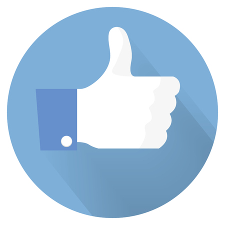 thumbs up hand, like social icon flat Vektorové ilustrace