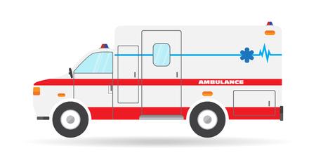 emergency vehicle: flat ambulance car emergency vehicle illustration auto icon