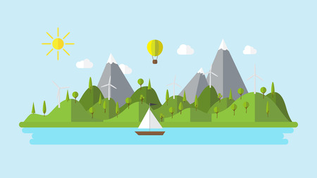 wind power: Flat ecology landscape island illustration with boat wind power plant and balloon coast scenery background