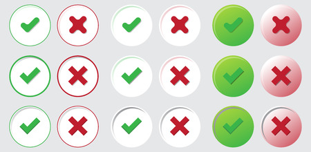 yes or no: yes no choice check mark button web element icon set isolated vote