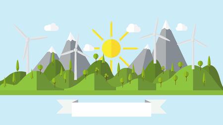 wind power plant: Flat ecology landscape island illustration with wind power plant coast scenery background