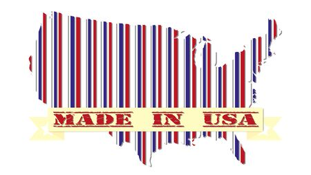 illsutration: Made in USA patriotic design map and the flag of America