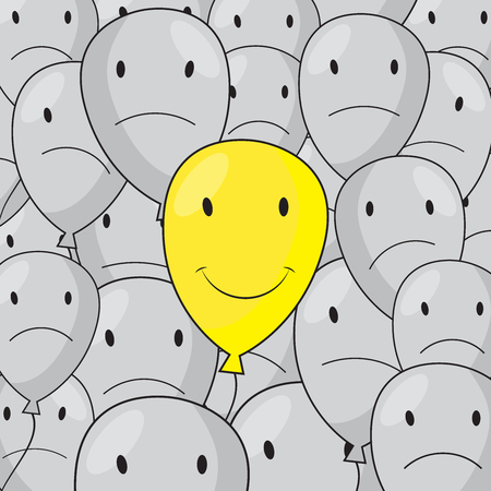 disgruntled: Happy yellow balloon with disgruntled gray balloons illustration