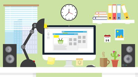 eshop: Flat design illustration home office workspace,workplace with computer. Online shopping concept Illustration