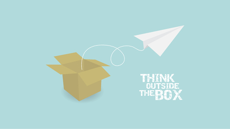 inovation: Think Outside Of Box concept. paper plane and paper box