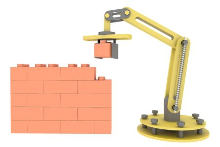 3d industrial robotic mechanical arm building brick wall. illustration isolated on white background