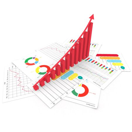 markup: Business financial bar and pie graph with growth success arrow 3d illustration