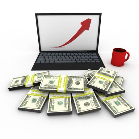 grow money: laptop with dollars and grow up stock market graph .Business e-commerce money workplace 3d rendering illustration