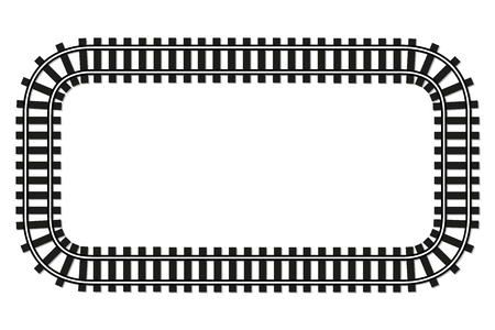 locomotive railroad top wiev track frame rail transport background border with place for text banner illustration