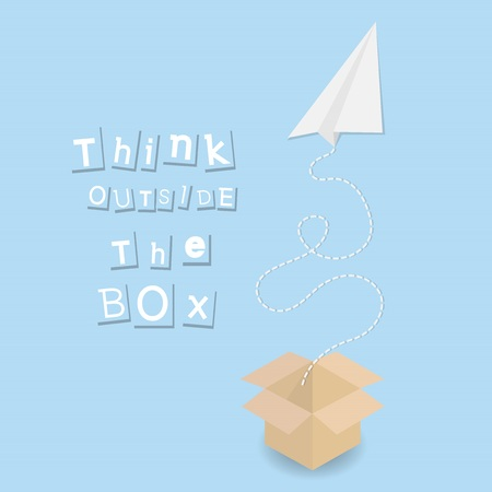 paper plane and paper box with textthink ouside the box  illustration motivation concept background Çizim