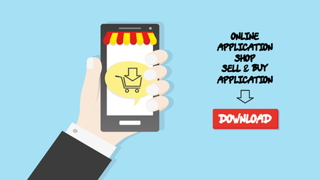 Hand holding smartphone with cart icon commerce application shop concept bussines background