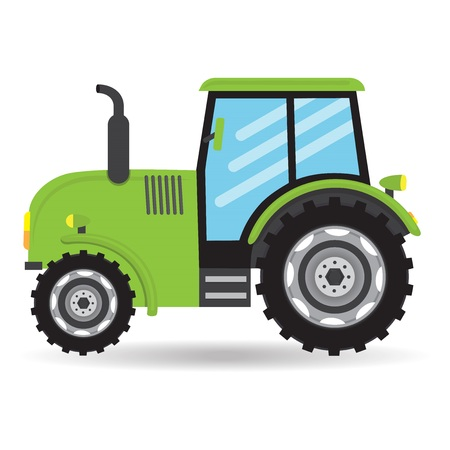 Tractor vehicle green farm auto car icon isolated on white background