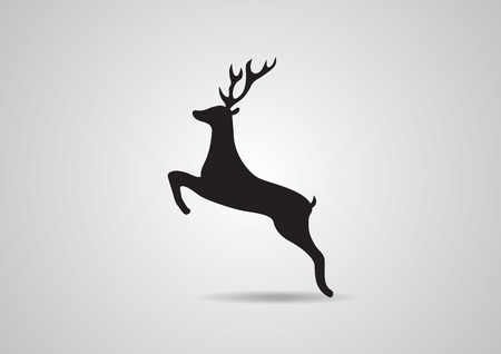 whitetail deer: Black silhouette of deer vector illustration icon isolated Illustration