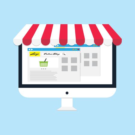 Flach Vektor-Business-Online-Shop Computer-Monitor Online-Shop icon Vektorgrafik