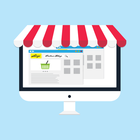 flat vector business online shop Computer monitor Online Store icon Çizim