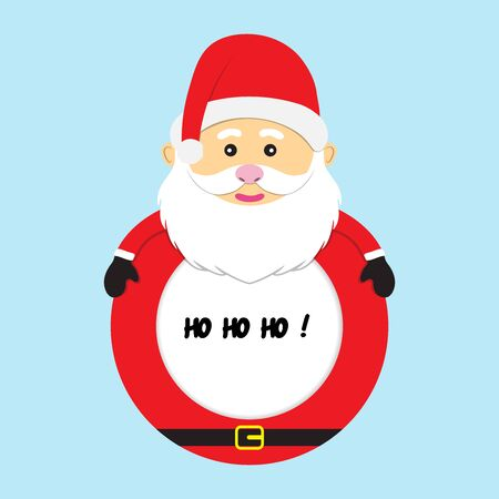 merry christmas frame santa claus vector illustration isolated on blue background