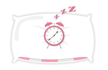 Cartoon Alarm sleeping on pillow clock icon isolated vector illustration