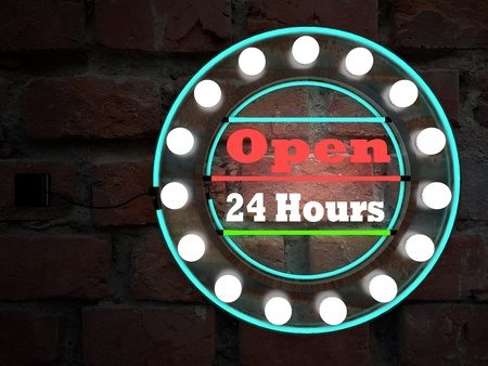 open 24 hours neon text sing on brick wall business background