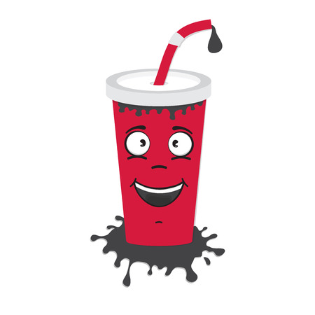 cartoon flat soda drink cup character icon vector illustration isolated on white