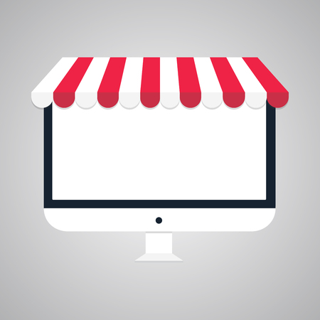 flat vector business online shop Computer monitor Online Store icon with place for your text or image