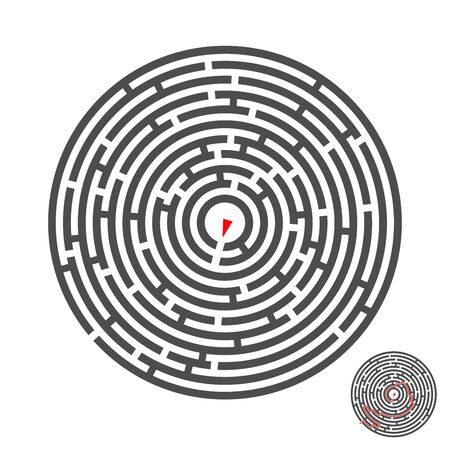 escape circle labyrinth with entry and exit.vector game maze puzzle with solution.Num.01