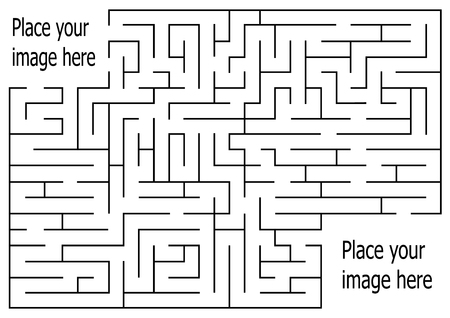 rectangle labyrinth with entry and exit.vector game maze puzzle with solution.Num.03 Illustration