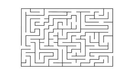 rectangle labyrinth with entry and exit.vector game maze puzzle with solution Çizim