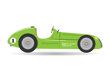 Vintage sport racing car flat formula vector vehicle auto illustration