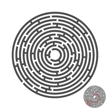 Escape circle labyrinth with entry and exit. Illustration