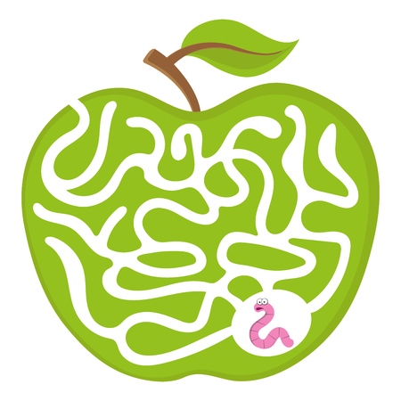 Cartoon maze game for kids Num.04 Worm with apple labyrinth vector puzzle illustration Çizim