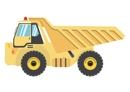 hopper: Cartoon flat dump truck.vector auto heavy vehicle illustration.car icon isolated