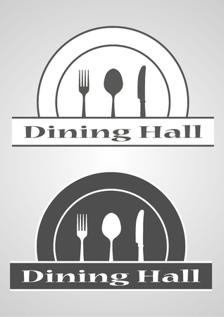 Kitchen tool.Spoon knife fork silhouette black icon vector dinning hall illustration