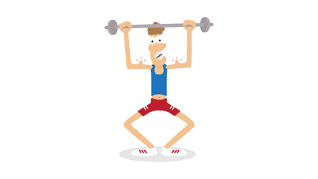 Athletic young man try bodybuilding.Cartoon funny fitness character vector comic illustration Çizim