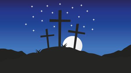 Three crosses standing on Golgotha.Good Friday christian vector background illustration