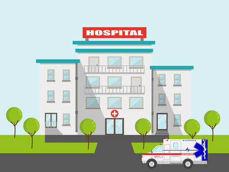 Flat medical ambulance and hospital vector emergeny clinic illustration