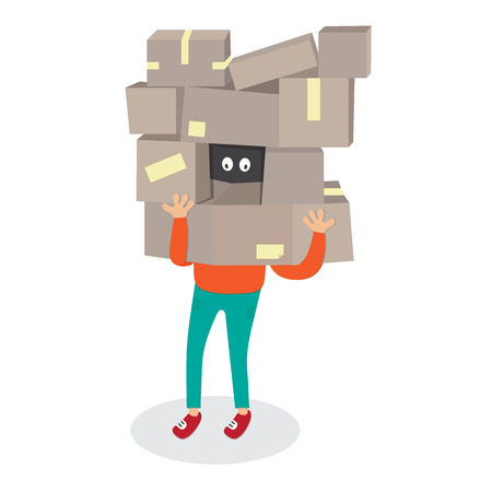 comerce: Delivery worker hide by box.Courier Man carrying boxes cartoon vector isolated illustration